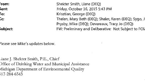 Many state government e-mails released over the Flint water crisis have subject headings claiming they are exempt from FOIA.