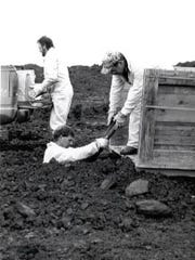 Personnel at the Letterkenny ammunition area prepare to dispose of munitions in this undated photograph.