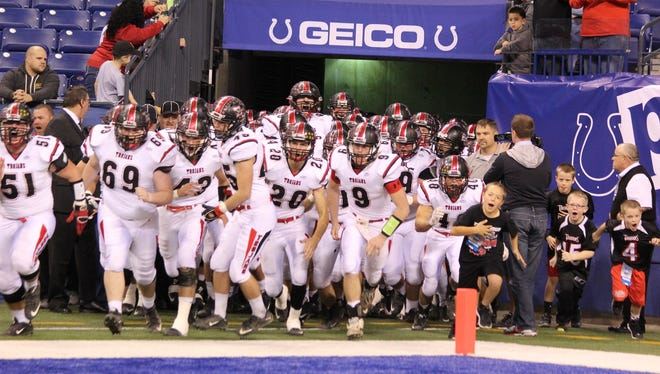 East Central football enters the field against Fort Wayne Dwenger in the Class 4A state finals.