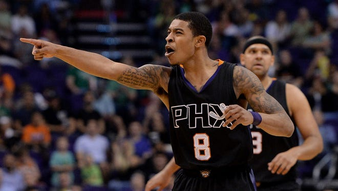 Mar 17, 2017; Phoenix, AZ, USA; Phoenix Suns guard Tyler Ulis (8) reacts on the court in the second half against the Orlando Magic at Talking Stick Resort Arena. The Magic won 109-103.
