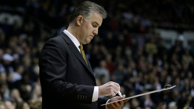 Purdue head coach Matt Painter in action during the first half of an NCAA college basketball game against Indiana Wednesday, Jan. 28, 2015, in West Lafayette, Ind. (AP Photo/Darron Cummings)