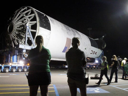 Massive Rocket Booster Arrives At Mississippi Space Museum