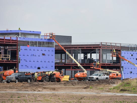 Construction continues on the structural steel on the