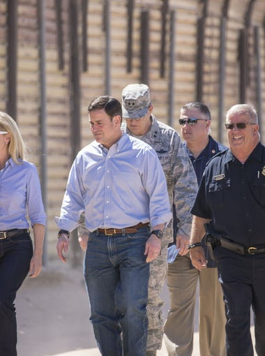 Secretary of Homeland Security Kirstjen M. Nielsen and Arizona Governor Doug Ducey takes a tour of the border while National Guard came to help out in San Luis, Arizona at the U.S. / Mexico border on April 18, 2018.