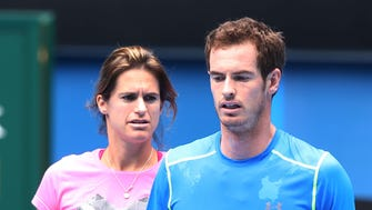 Andy Murray with coach Amelie Mauresmo during a practice session ahead of the Australian Open.