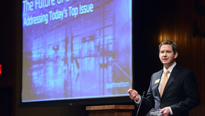 Pat Costello, commissioner of the South Dakota governor's office of economic development speaks Wednesday morning at the GOED conference at the Sanford Research Center in Sioux Falls.