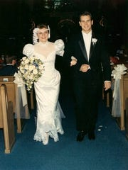 Dennis K. Morgan and his wife, Danette, in Louisiana on their wedding day in 1991