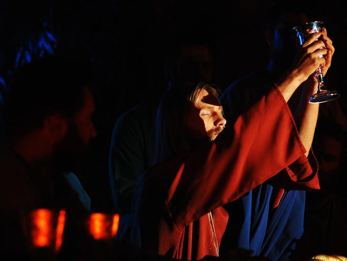 "Actors, including Josh Broadbooks, who portrays Jesus, run through a live re-enactment of the Leonardo Da Vinci painting ""The Last Supper"" before a show on Wednesday, April 16, 2014, at the Celebrate Community Church in Sioux Falls. (Joe Ahlquist / Argus Leader)"