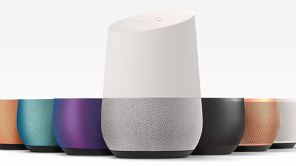 Google Home smart speaker with a variety of colored base options.