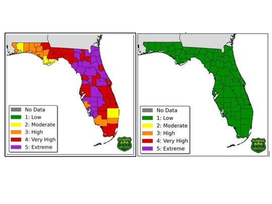 """Heavy rainfall across Florida has significantly improved conditions across the state. The Florida Forestry Service's """"Forecast Fire Danger Indices"""" map showing all green, meaning the threat for brush fires is low."""