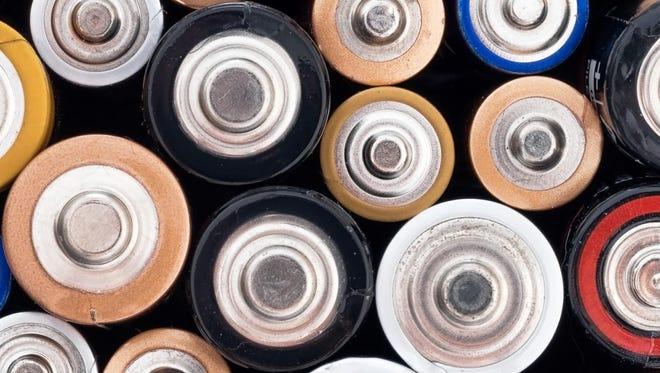 Old alkaline domestic battieries, hazardous waste product