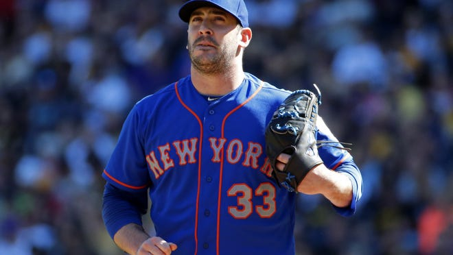 New York Mets starting pitcher Matt Harvey (33) collects himself on the mound after giving up a two-run home run to Pittsburgh Pirates' Andrew McCutchen in the first inning of a baseball game in Pittsburgh, Saturday, May 23, 2015. (AP Photo/Gene J. Puskar)