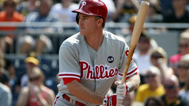 Chase Utley bats during the first inning against the Pittsburgh Pirates June 13, 2015.