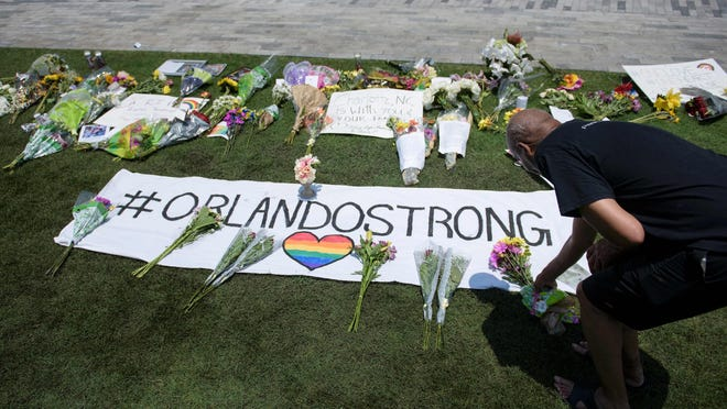 Memorial for the victims of the mass shooting at the Pulse nightclub in Orlando, Florida.