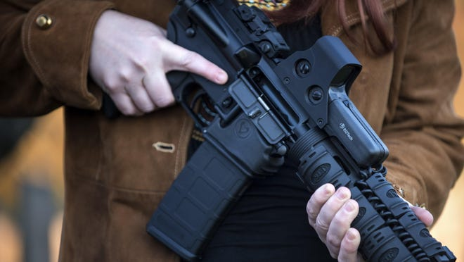 This photo taken on Dec. 5, 2012, shows an AR-15 semiautomatic rifle in Berryville, Virginia.