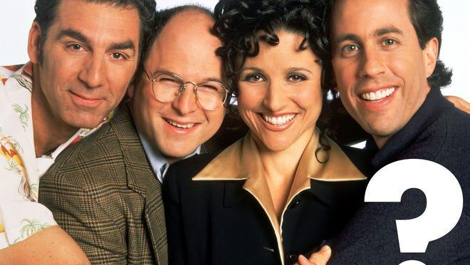 NBC 75th ANNIVERSARY -- SEINFELD -- NBC Series -- Pictured: (l-r) Michael Richards as Cosmo Kramer, Jason Alexander as George Costanza, Julia Louis-Dreyfus as Elaine Benes, Jerry Seinfeld as Jerry Seinfeld -- Broadcast Dates: (1990-1998) --- DATE TAKEN: rec'd 10/04  No Byline   NBC        HO      - handout   ORG XMIT: ZX27871