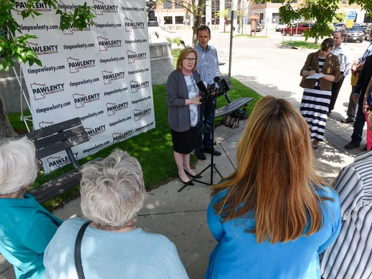 Lt. Gov. Michelle Fischbach speaks during a press conference with former Gov. Tim Pawlenty during a press conference Thursday, May 31, near the Stearns County Courthouse in St. Cloud.