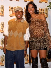 402564 106: Record label founder Russel Simmons and his wife model Kimora Lee pose in the press room at the Soul Train Music Awards March 20, 2002 in Los Angeles, CA. (Photo by Sebastian Artz/Getty Images)