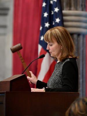 Speaker of the House Beth Harwell gavels in for the first day of the legislative session Tuesday, Jan. 9, 2018, in Nashville.