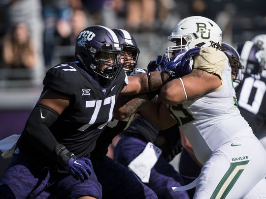 Lucas Niang, of TCU,  is projected to land with the Arizona Cardinals in a couple NFL mock drafts.