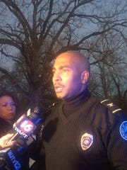 JPD Commander Tyree Jones addresses the media.
