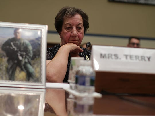 Josephine Terry, mother of late Border Patrol Agent Brian Terry who was killed December 2010 by a firearm from Operation Fast and Furious, testifies during a hearing before the House Oversight and Government Reform Committee on Wednesday, June 7, 2017 on Capitol Hill in Washington, D.C.