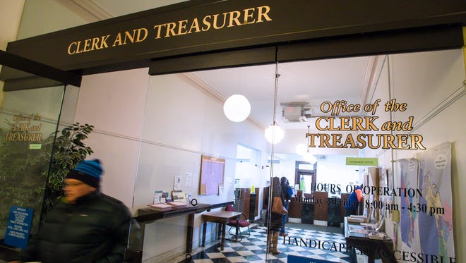 The office of the city Clerk and Treasurer in Burlington City Hall is where residents can pay their property taxes. Seen on Thursday, December 28, 2017.