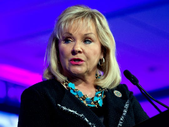 Oklahoma Gov. Mary Fallin is shown in the February