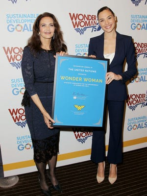 Lynda Carter and Gal Gadot, appear at a United Nations event naming the superhero character as an Honorary Ambassador For the Empowerment of Women and Girls on Oct. 21.