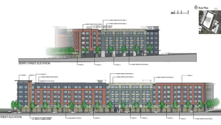 A rendering of the five-story, 254 unit apartment building