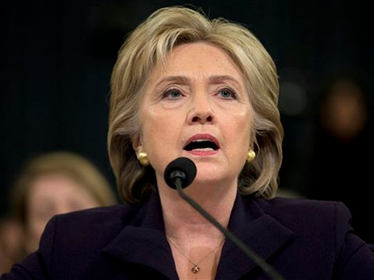 Democratic presidential candidate, former Secretary of State Hillary Rodham Clinton testifies on Capitol Hill in Washington, Thursday, Oct. 22, 2015, before the House Benghazi Committee.