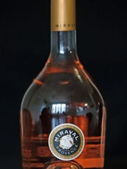 A bottle of Miraval, Cote de Provence rose wine, produced