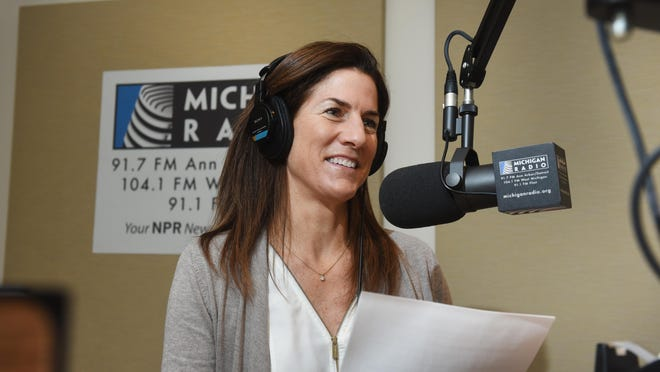 "University of Michigan English and linguistics professor Anne Curzan records her weekly four-minute Sunday morning show on the English language, ""That's What They Say,"" at WUOM-FM at Michigan Radio studios in Ann Arbor."