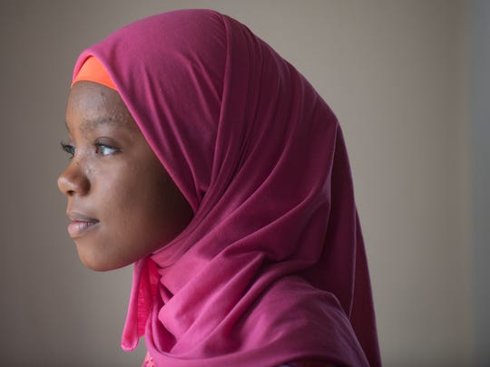 Amaya Diggins, 10, of Willingboro. wears her pink hijab. Her company Hijabi Fits, offers hijabs for teens and tweens in six colors.