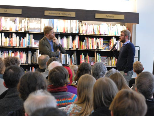 Jón Gnarr (left) answered audience questions, with SUNY Geneseo professor and poet Lytton Smith translating.