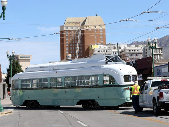 Streetcar No. 1504 is pushed to the Sun Metro maintenance
