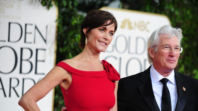 Richard Gere and Carey Lowell on the red carpet at the Golden Globe Awards in Beverly Hills on Jan. 13.