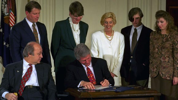 President Clinton signs the Brady Bill in the East