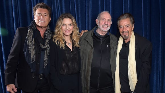 From left: Steven Bauer, Michelle Pfeiffer, Brian De