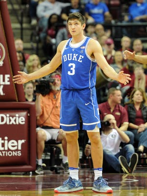 Jan 10, 2017; Tallahassee, FL, USA;  Duke Blue Devils guard Grayson Allen (3) reacts after a play during the second half of the game against the Florida State Seminoles at the Donald L. Tucker Center. Mandatory Credit: Melina Vastola-USA TODAY Sports