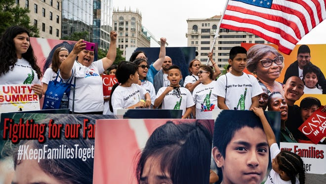 CASA in Action and the Fair Immigration Reform Movement (FIRM) hold a rally to 'demand protections for the men, women and children separated at the border as a direct result of Trump's 'zero tolerance' policy at Freedom Plaza in Washington, D.C., on June 27, 2018.
