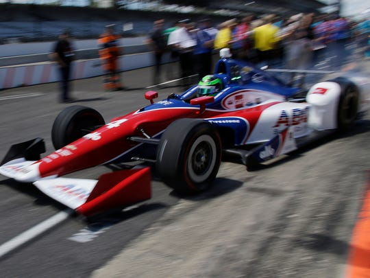 Conor Daly, who drives the No.4 ABC Supply Co. Chevrolet for A.J. Foyt Racing, takes off to begin his qualifying laps Sunday, May 21, 2017 at the Indianapolis Motor Speedway for the Verizon IndyCar Series.