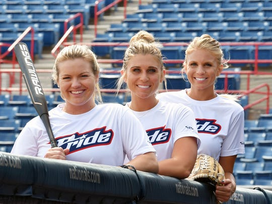 Three former FSU players now play professionally with the USSSA Pride: from left,  third baseman Jessie Warren, first baseman Alex Powers and pitcher Jessica Burroughs.