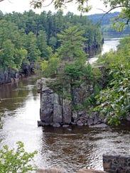 The St. Croix River cuts through a basalt gorge known