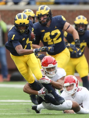 Michigan cornerback Ambry Thomas caught 34 passes in college; 14 of them went for touchdowns.