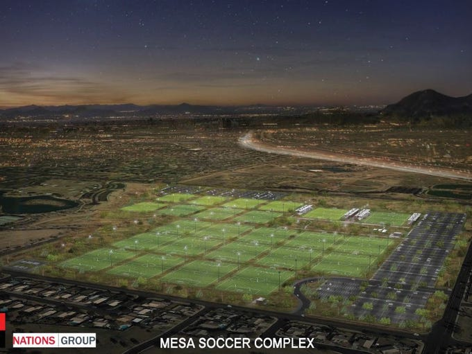An artist's rendering of the proposed Mesa soccer complex