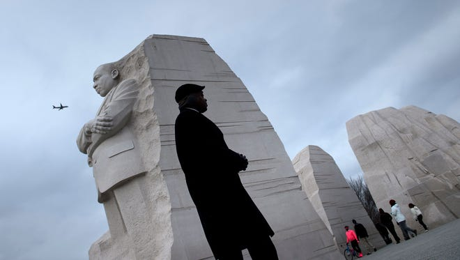 People visit the Martin Luther King Memorial on the National Mall Jan. 15, 2018 in Washington, DC.