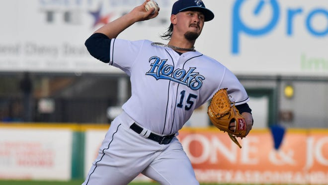 Hooks pitcher Dean Deetz throws against Tulsa at Whataburger Field on Sunday, May 28, 2017.
