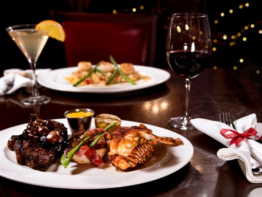 The signature surf & turf dinner at Ditka's at Vee Quiva Casino.