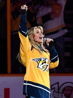 Faith Hill sings the national anthem before the start of Game 6 of the Stanley Cup Final on June 11, 2017, at Bridgestone Arena.